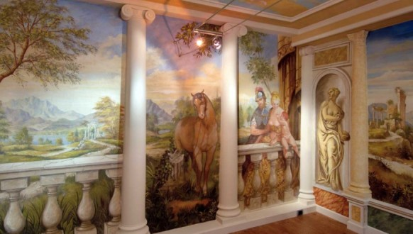Fresco-office-design-horse-knights-landscape-mural-582x330